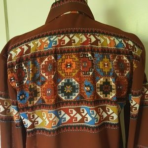 Vintage tribal boho southwestern print shirt